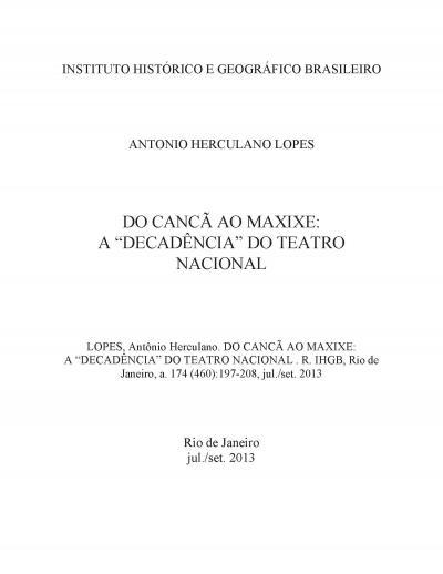 "DO CANCÃ AO MAXIXE: A ""DECADÊNCIA"" DO TEATRO NACIONAL"