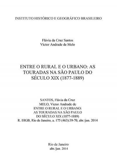 ENTRE O RURAL E O URBANO: AS TOURADAS NA SÃO PAULO DO SÉCULO XIX (1877-1889)